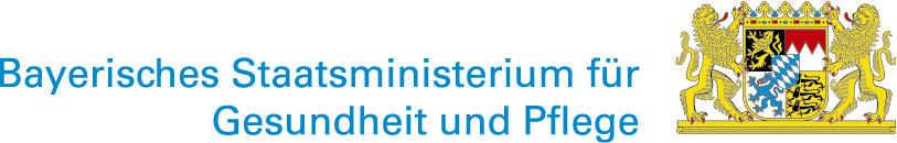 Bayerisches Staatswappen mit Schriftzug Bayerisches Staatsministerium für Gesundheit und Pflege